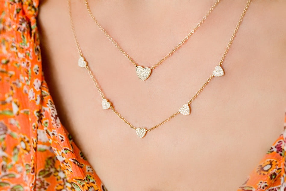 Diamond Pave Small Heart Necklace - Lauren Sigman Collection