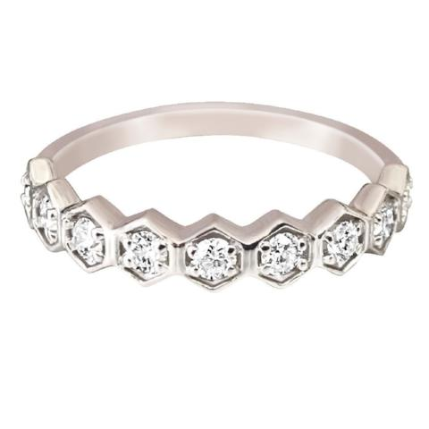 Hexagon Stacking Band in Diamonds