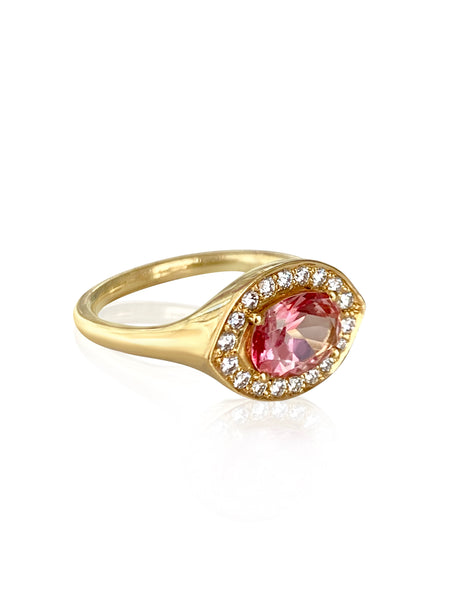 Azalea Pave Ring in 18k Gold with Diamonds & Pink Tourmaline Gemstone - Lauren Sigman Collection