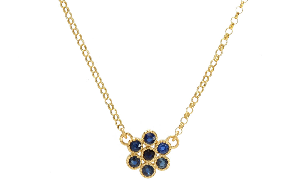 Water Lily Necklace in Blue Sapphires