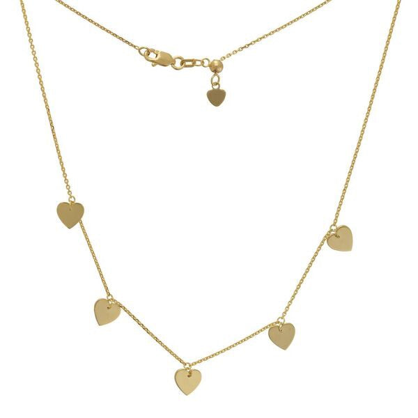 Five Heart Dangling Necklace - Lauren Sigman Collection