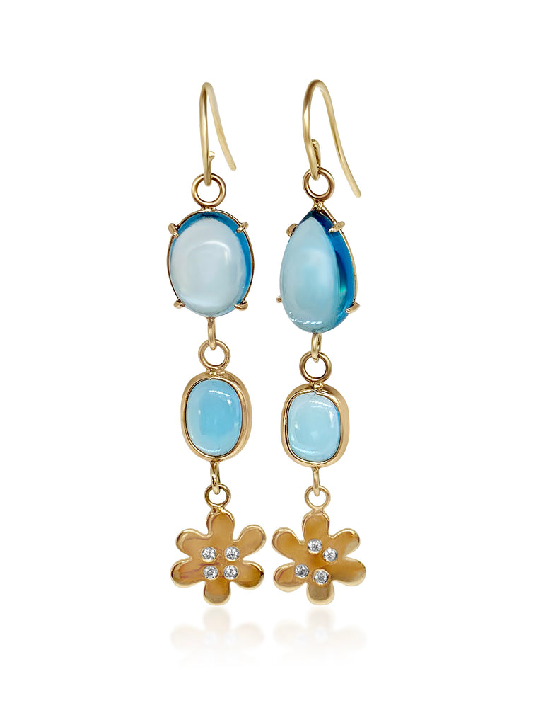Blue Topaz & Mini Diamond Daisies/SOLD - Lauren Sigman Collection