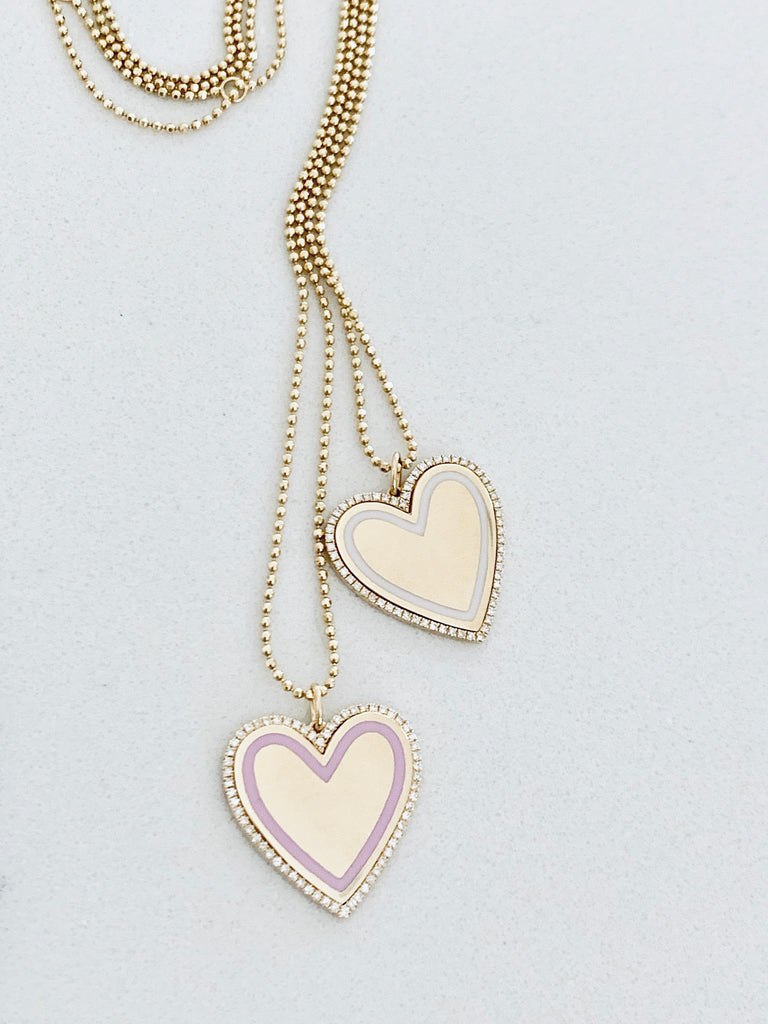 Large Heart Diamond & Black Enamel Necklace - Lauren Sigman Collection
