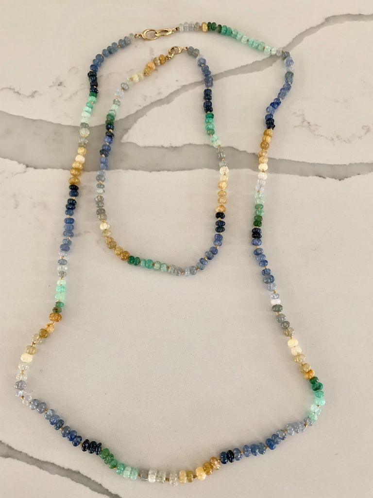 "Sapphire and Emerald Silk Knotted Chain/36"" - Lauren Sigman Collection"