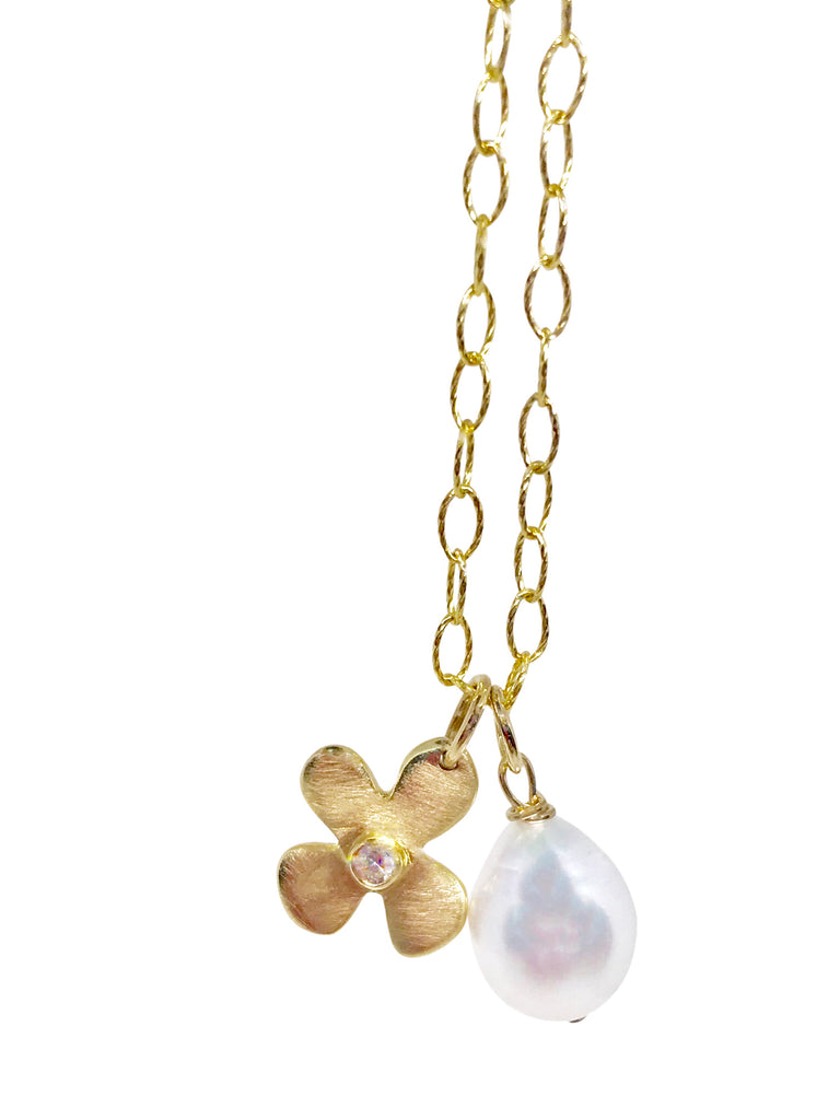 Lily diamond and pearl drop necklace - Lauren Sigman Collection