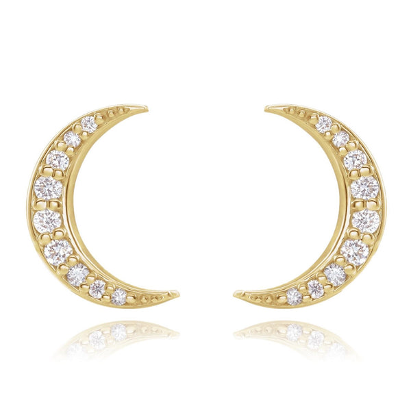 Diamond Moon Stud Earrings - Lauren Sigman Collection