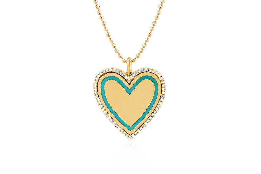 Diamond & Enamel Large Heart Necklace/Turquoise Enamel - Lauren Sigman Collection