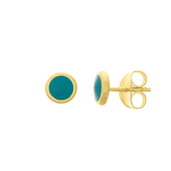 Turquoise & Gold Round Stud Earrings - Lauren Sigman Collection