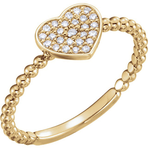 Diamond Heart Beaded Ring
