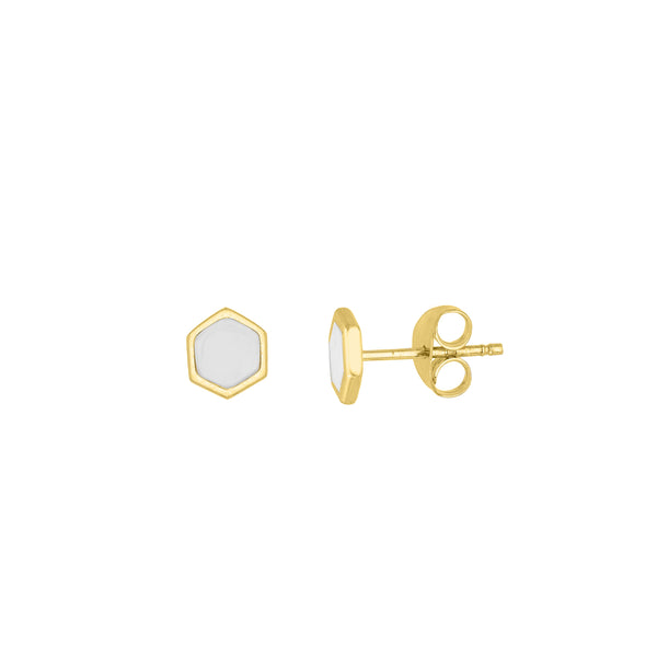 White Enamel Hexagon Stud Earrings - Lauren Sigman Collection