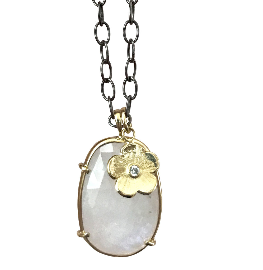 Moonstone and Petunia Charm Necklace - Lauren Sigman Collection