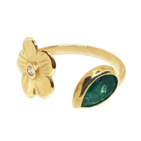 Emerald and Petunia Split Ring - Lauren Sigman Collection