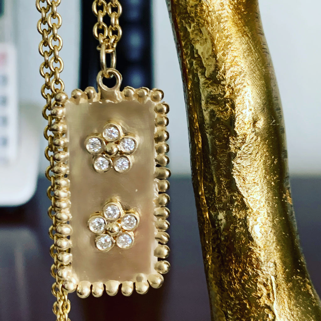 Double Flower & Diamond Large Beaded Dog Tag - Lauren Sigman Collection