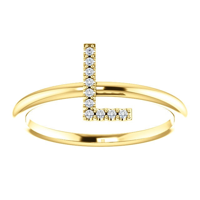 Diamond Initial Ring - Lauren Sigman Collection