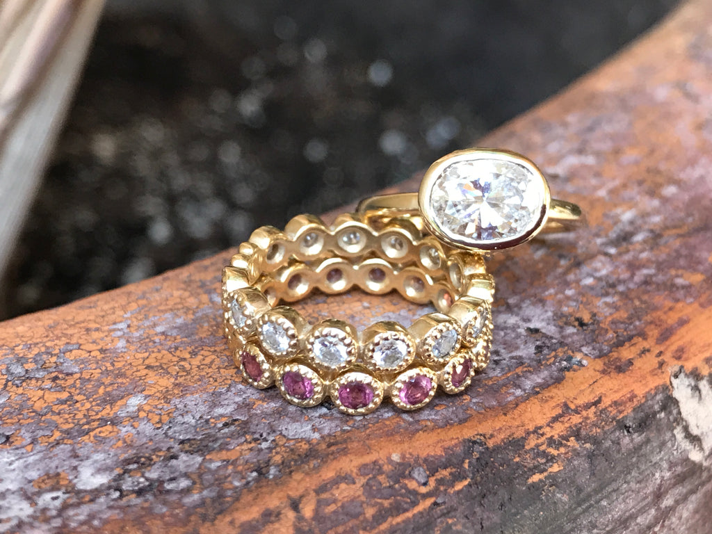 Jasmine Band in 18k Gold with Pink Sapphires - Lauren Sigman Collection