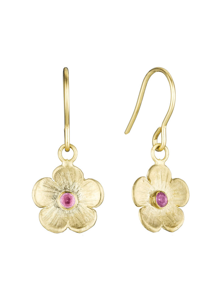 Petunia Hanging Earrings with Pink or Blue Sapphires - Lauren Sigman Collection