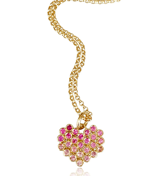 Cluster Heart Necklace/Pink Ombre Sapphires - Lauren Sigman Collection