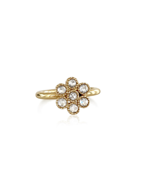 18K Waterlily Rose Cut Diamond Ring