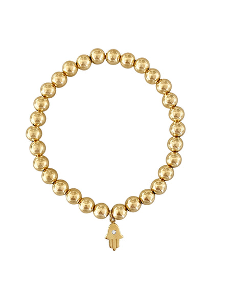 Gold Bead & Hamsa Diamond Charm Bracelet - Lauren Sigman Collection