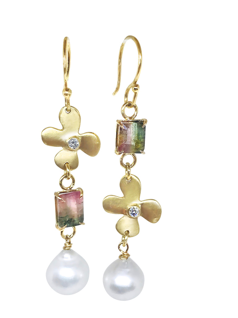 Lily diamonds with Emerald cut Watermelon Tourmaline and pearl earrings - Lauren Sigman Collection