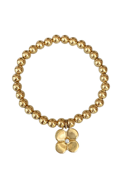 Gold Bead Bracelet/Puffy Diamond Flower - Lauren Sigman Collection
