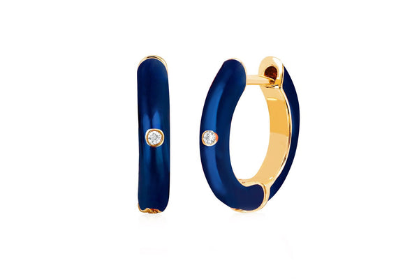 Navy Blue Enamel & Diamond Huggies - Lauren Sigman Collection