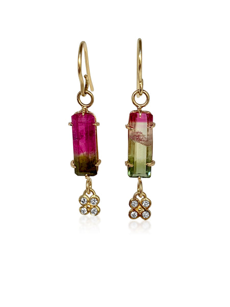 Tourmaline Baguettes with diamond Lilac flowers - Lauren Sigman Collection