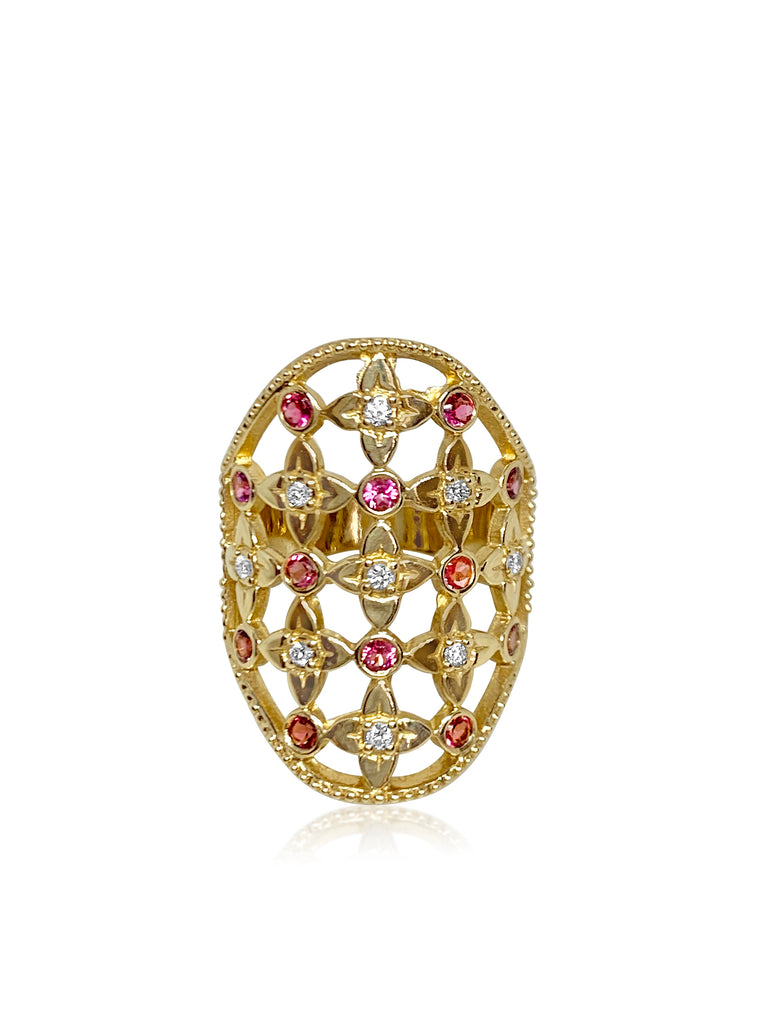 Lilac Lace Cigar Band with Diamonds & Pink Sapphire Gemstones - Lauren Sigman Collection