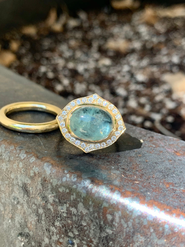 Aquamarine & Pave Diamonds Ring - Lauren Sigman Collection