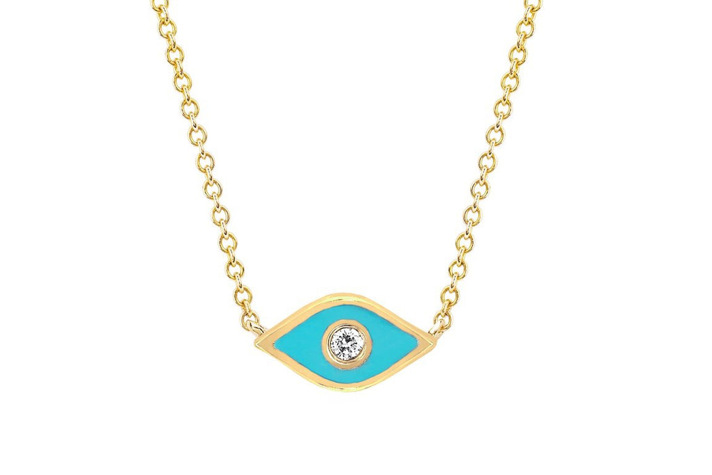 Diamond & Enamel Evil Eye Necklace - Lauren Sigman Collection