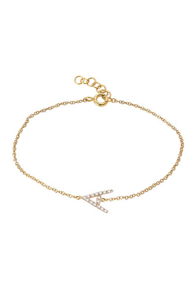 Diamond Initial Bracelet/14k yellow gold