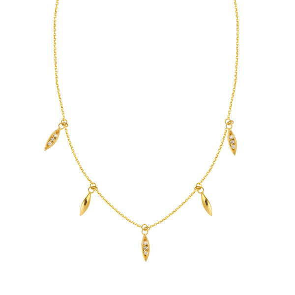 Dangle Diamond and Gold Necklace - Lauren Sigman Collection