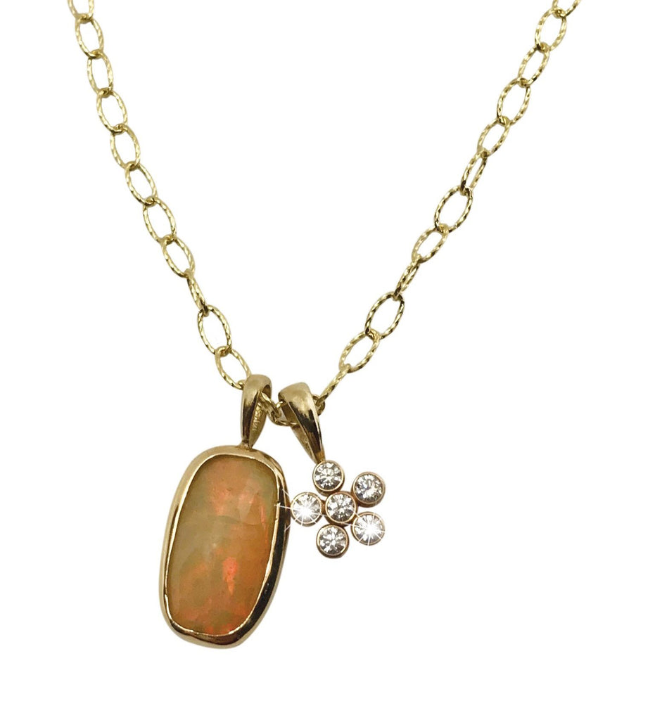 Opal and Dahlia Diamond charm necklace - Lauren Sigman Collection