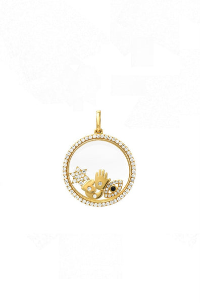 14k Small Diamond Pave Locket Pendant - Lauren Sigman Collection