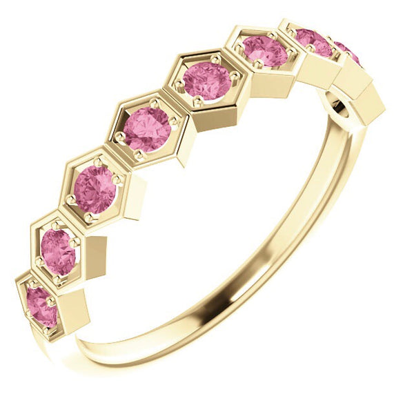 Pink Sapphire Hexagon Stacking Band - Lauren Sigman Collection
