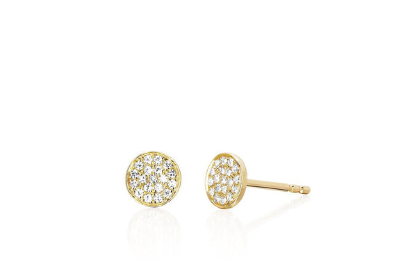 Small Diamond Cluster Disk Stud Earrings - Lauren Sigman Collection