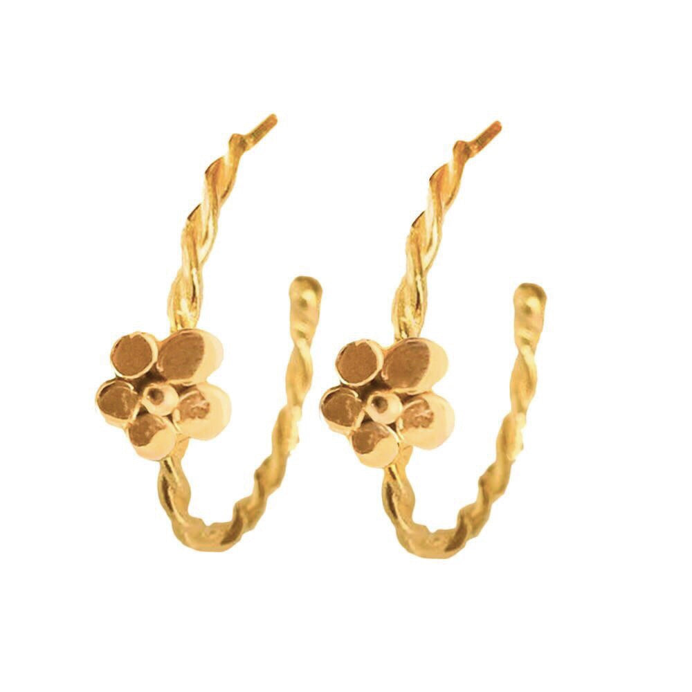 Gold Twisted Flower Hoops - Lauren Sigman Collection