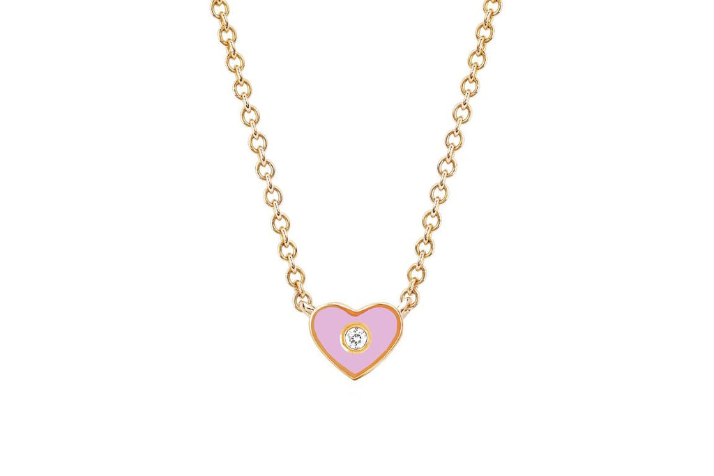 Diamond & Enamel Mini Heart Necklace - Lauren Sigman Collection
