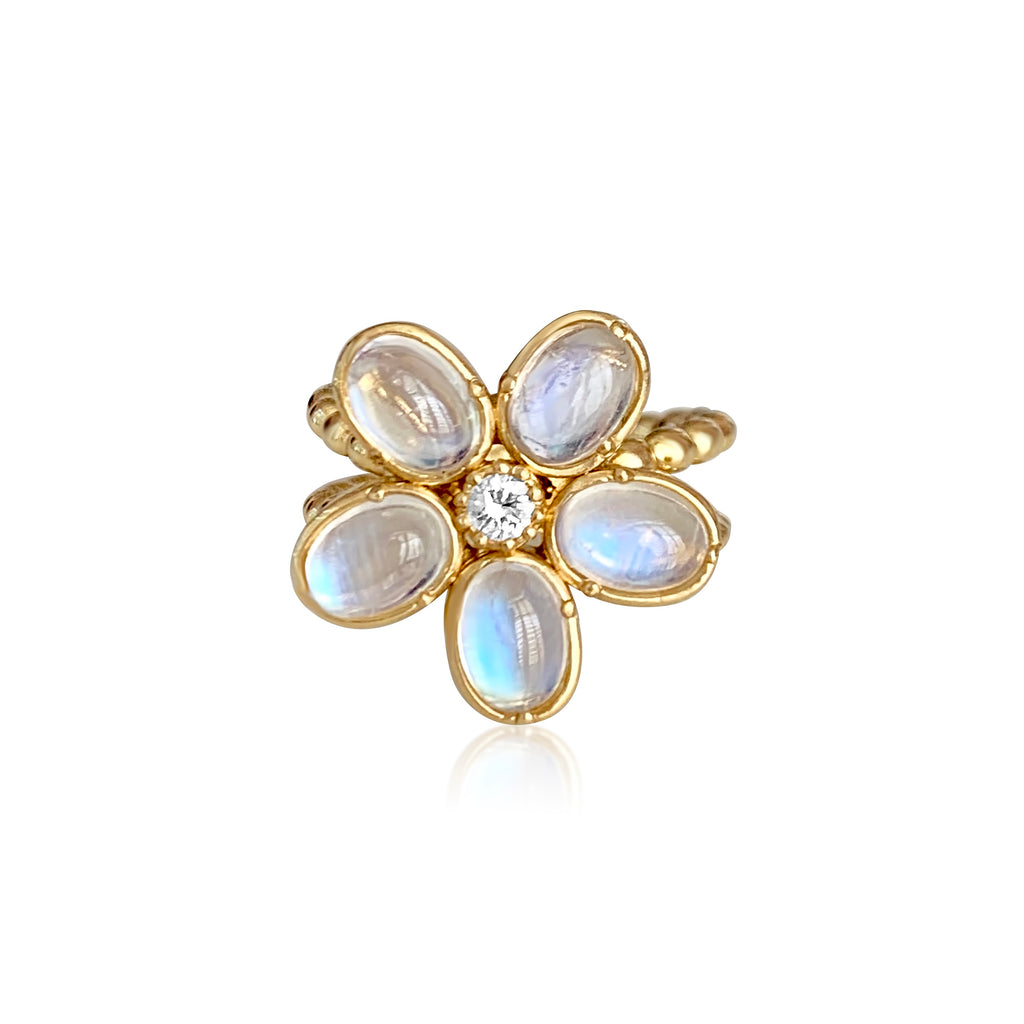 Camellia Ring with Moonstone & Diamond - Lauren Sigman Collection