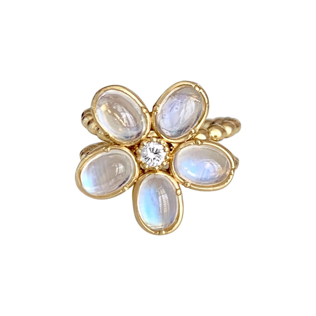 Camellia Ring with Rainbow Moonstones & Diamond - Lauren Sigman Collection