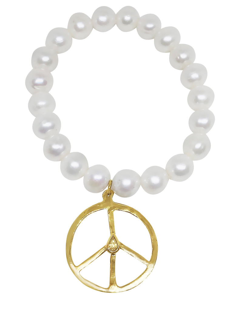 Diamond Peace and Pearl Bracelet - Lauren Sigman Collection
