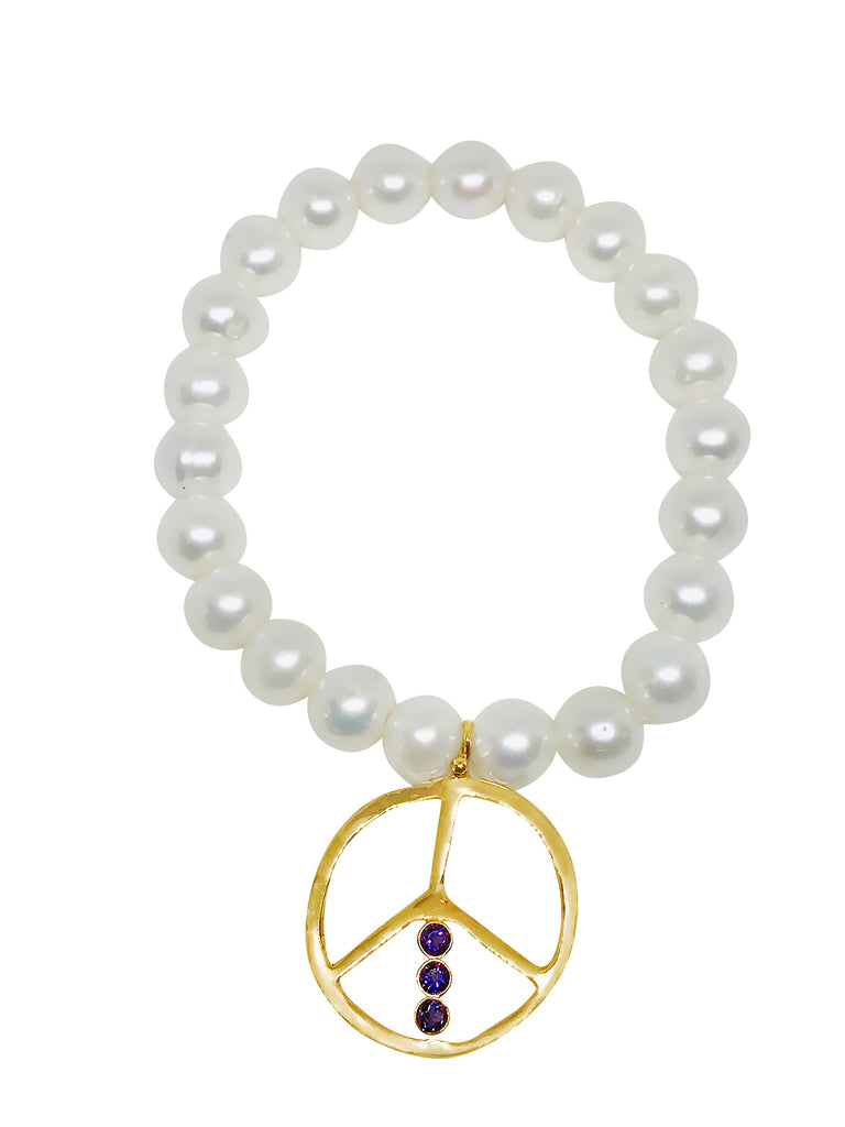 Pearl and Amethyst Peace Bracelet - Lauren Sigman Collection