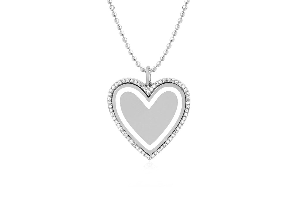 Diamond & Enamel Large Heart Necklace/White Enamel - Lauren Sigman Collection