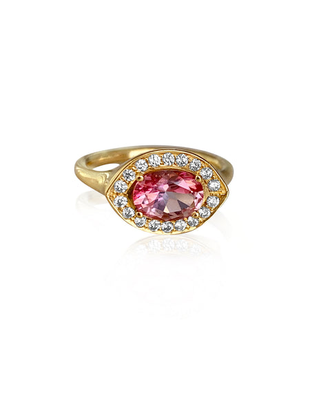 Azalea Pave Ring in 18k Gold with Diamonds & Pink Tourmaline - Lauren Sigman Collection