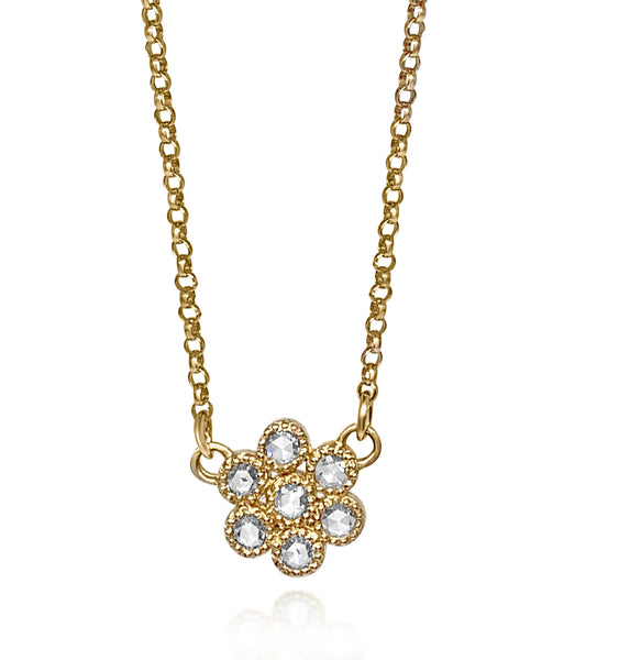 Water Lily Necklace/Rose Cut Diamonds - Lauren Sigman Collection