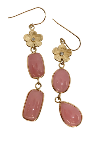 Pink Opal Petunia Earrings by LSJ