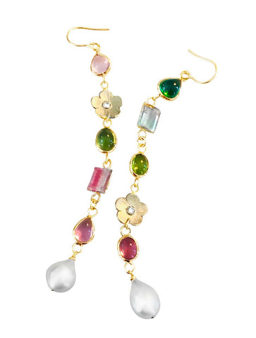 Tourmaline & Pearl Duster Earrings - Lauren Sigman Collection