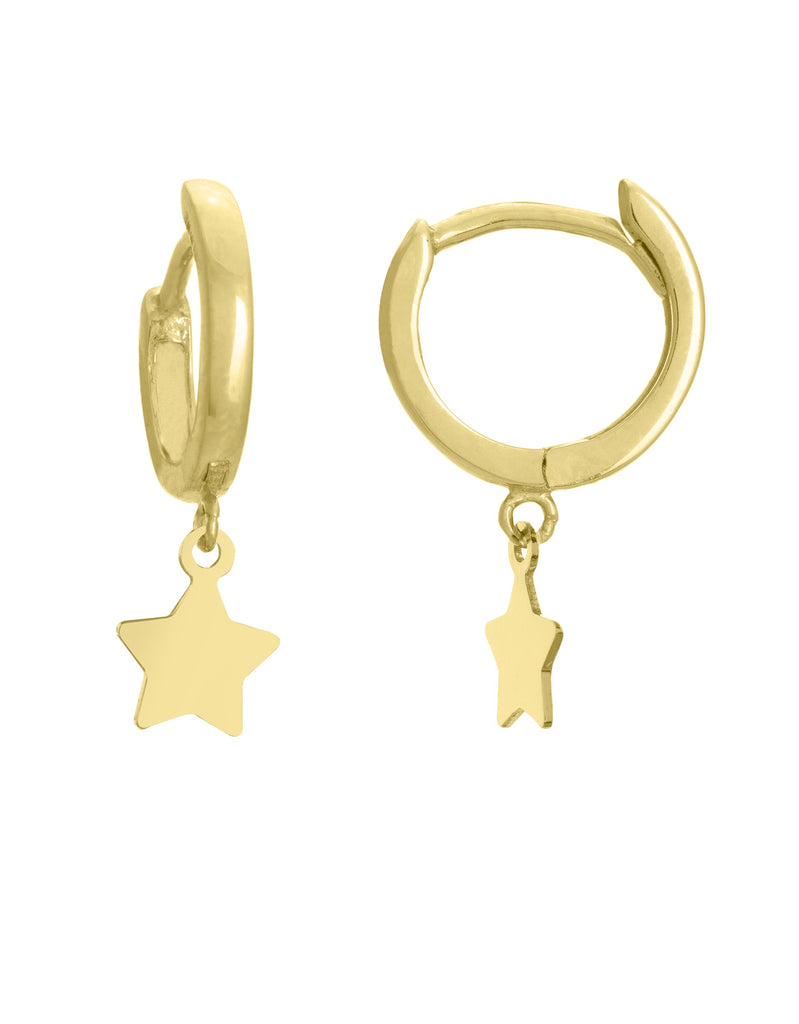 Gold mini hoops with stars - Lauren Sigman Collection
