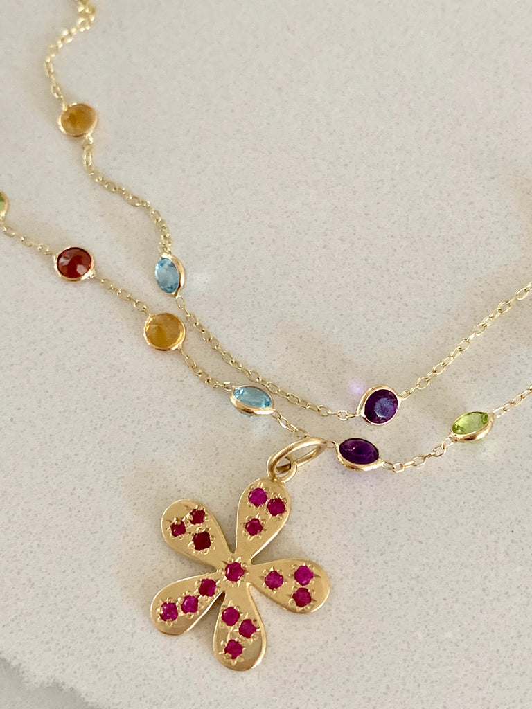 Rainbow Gemstone Spaced Necklace - Lauren Sigman Collection