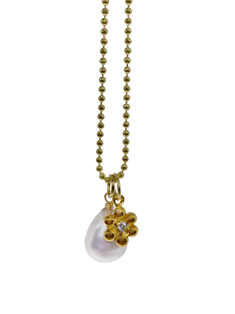 Diamond flower & pearl charm necklace - Lauren Sigman Collection